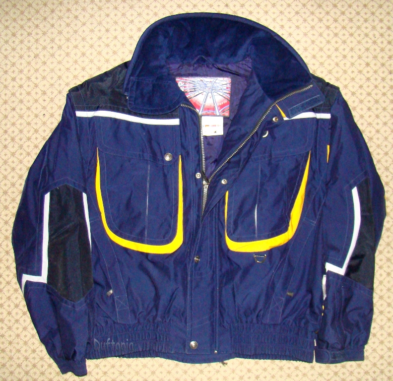 Blue and yellow spyder thermal insulated coat