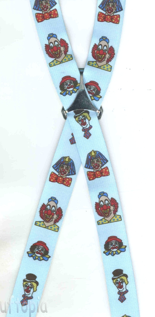 Blue clown suspenders