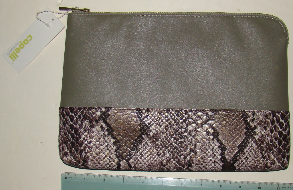 Capelli Tan brown snakeskin imprinted purse (3)