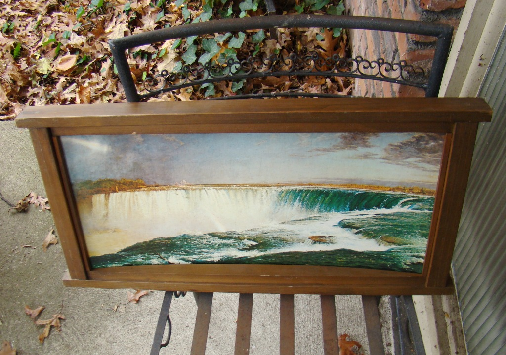 Convexed niagra falls painting in frame (2)