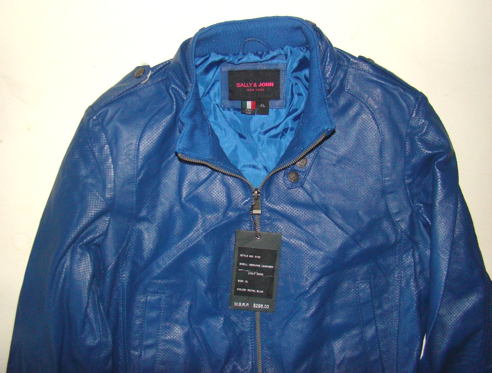 S&J Blue XL Leather Jacket womens (4)