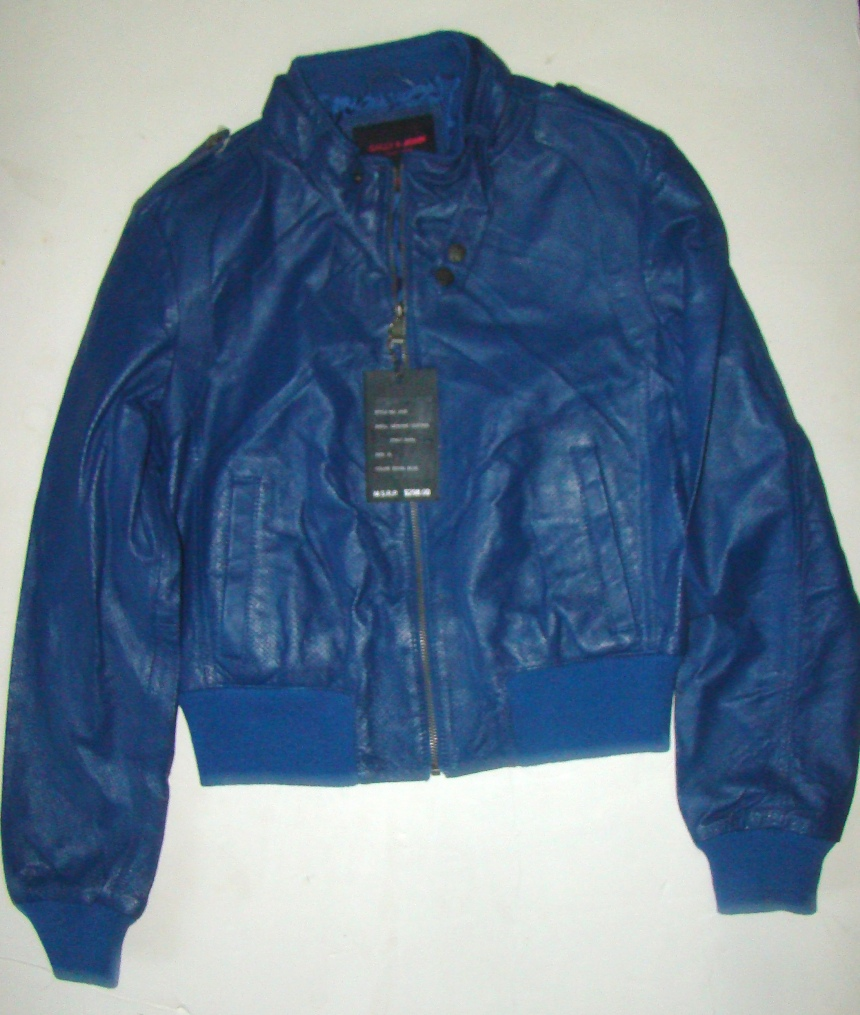 S&J Blue XL Leather Jacket womens (5)